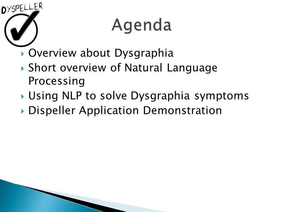 Agenda Overview about Dysgraphia