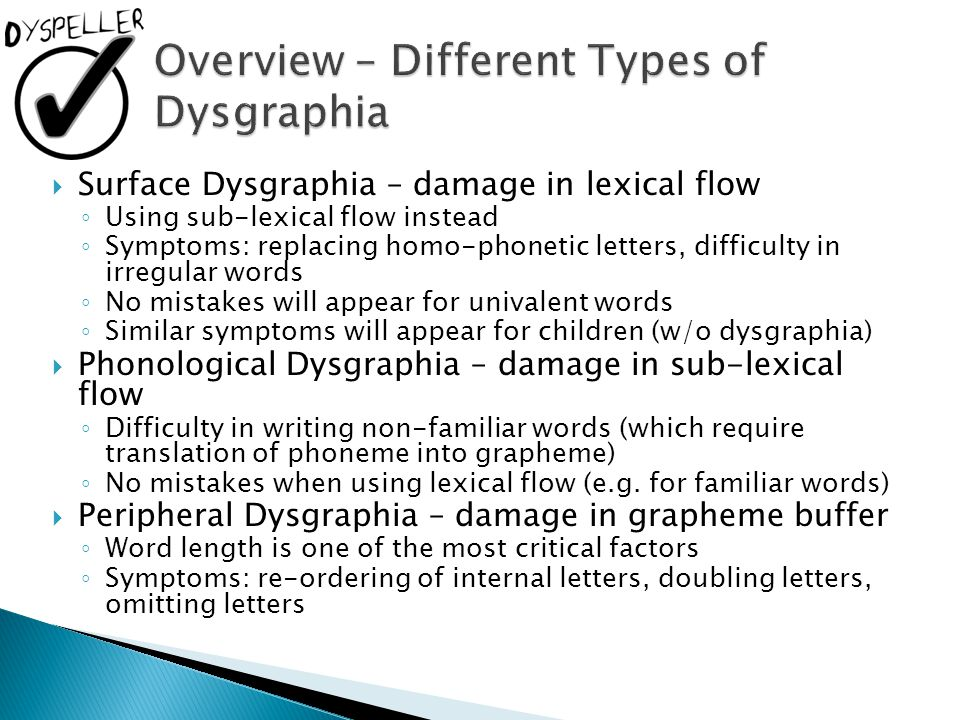 Overview – Different Types of Dysgraphia