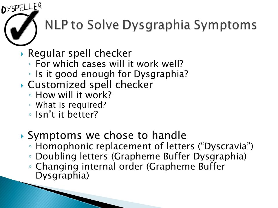 NLP to Solve Dysgraphia Symptoms