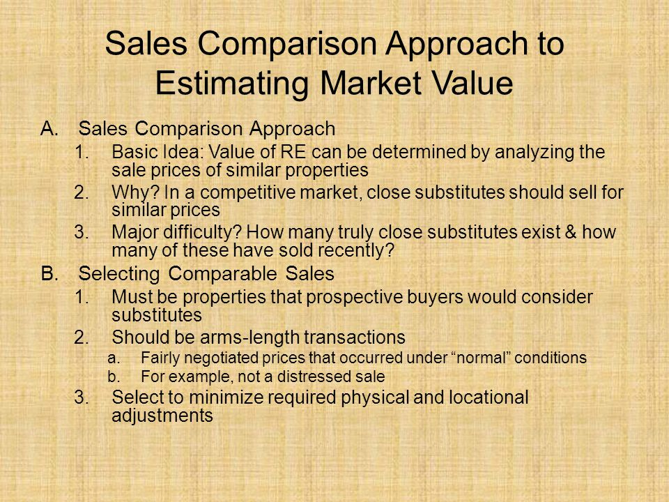 Sales Comparison Approach to Estimating Market Value