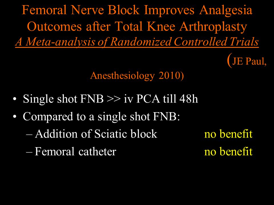 Femoral Nerve Block Improves Analgesia Outcomes after Total Knee Arthroplasty A Meta-analysis of Randomized Controlled Trials (JE Paul, Anesthesiology 2010)