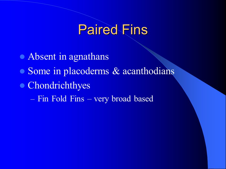 Paired Fins Absent in agnathans Some in placoderms & acanthodians