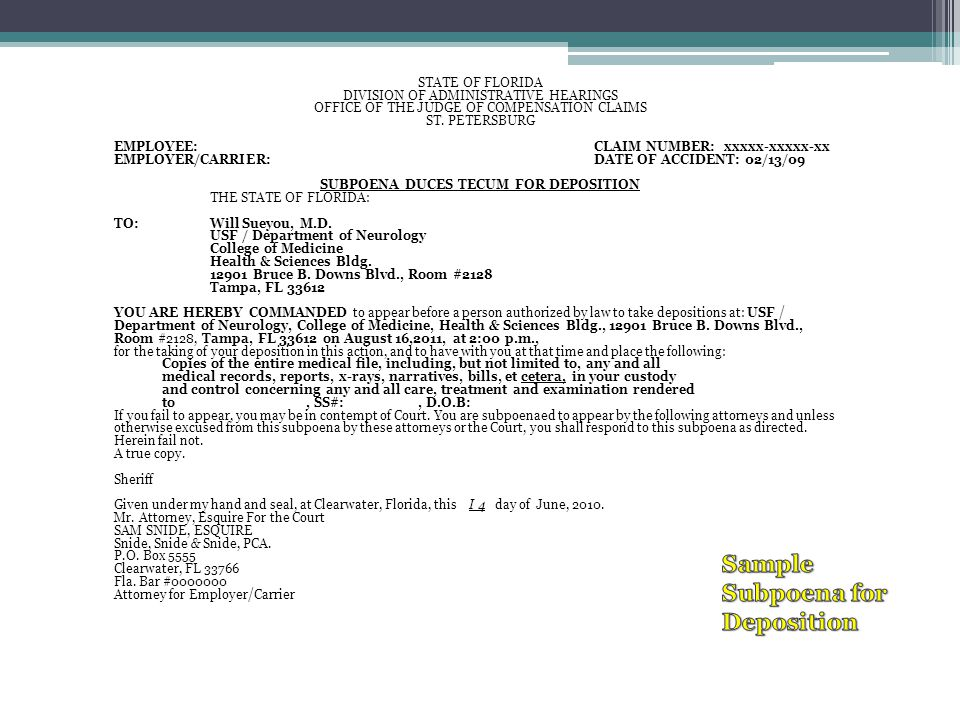 Sample Subpoena for Deposition