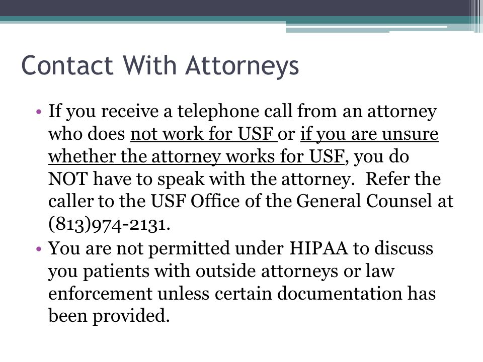 Contact With Attorneys
