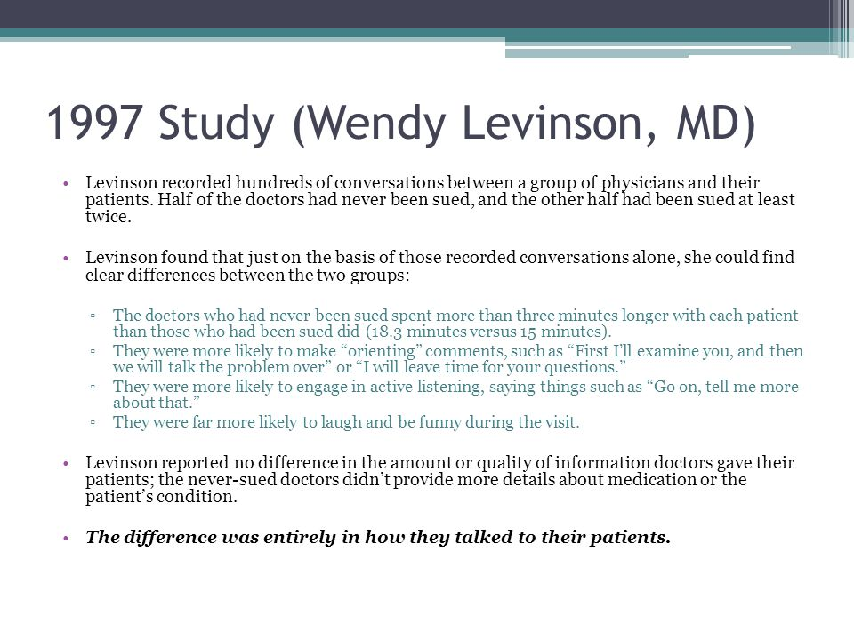 1997 Study (Wendy Levinson, MD)