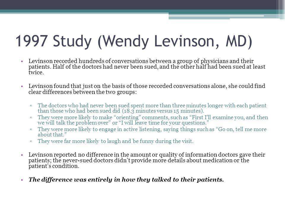 1997 Study (Wendy Levinson, MD)