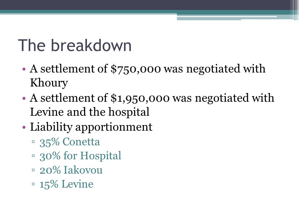 The breakdown A settlement of $750,000 was negotiated with Khoury