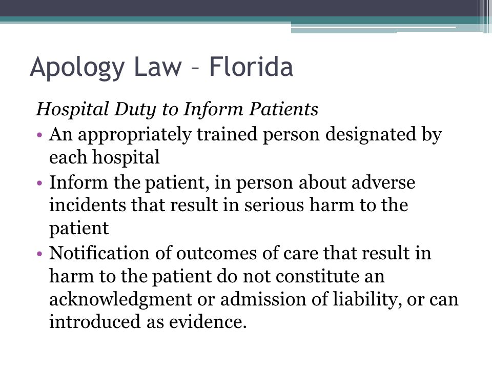 Apology Law – Florida Hospital Duty to Inform Patients