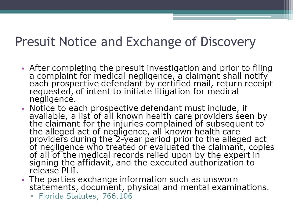 Presuit Notice and Exchange of Discovery