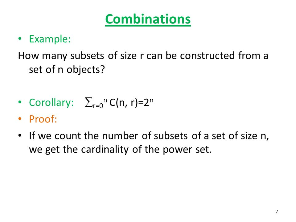 Combinations Example: