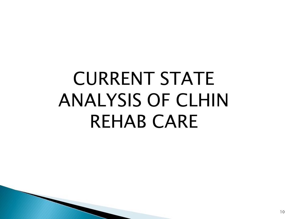 CURRENT STATE ANALYSIS OF CLHIN REHAB CARE