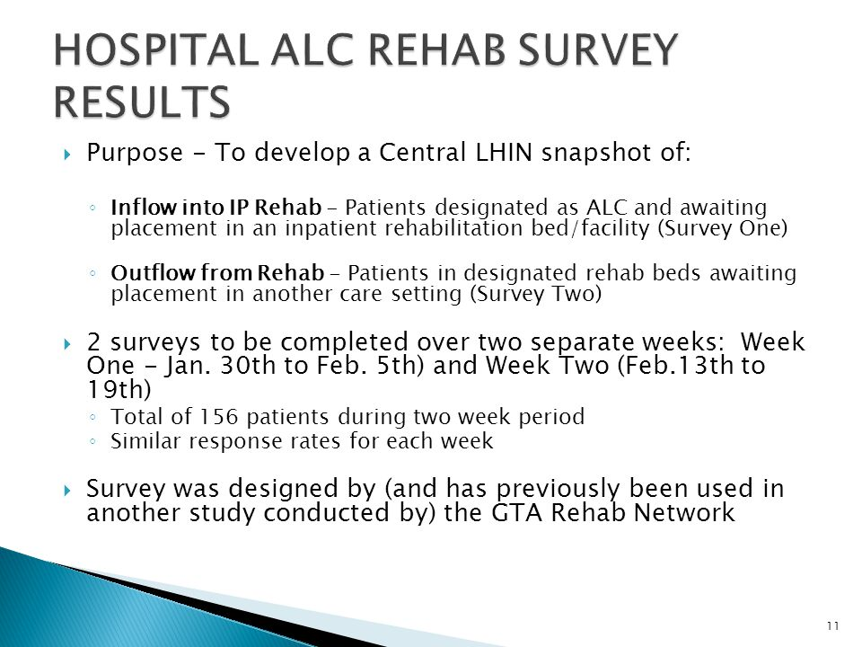 HOSPITAL ALC REHAB SURVEY RESULTS