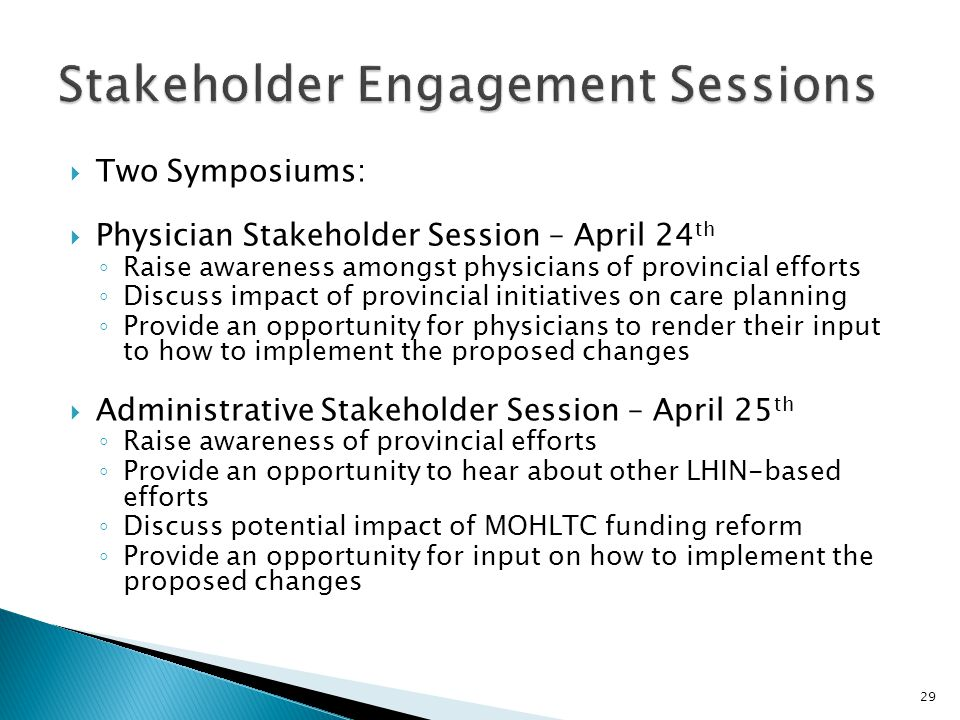 Stakeholder Engagement Sessions