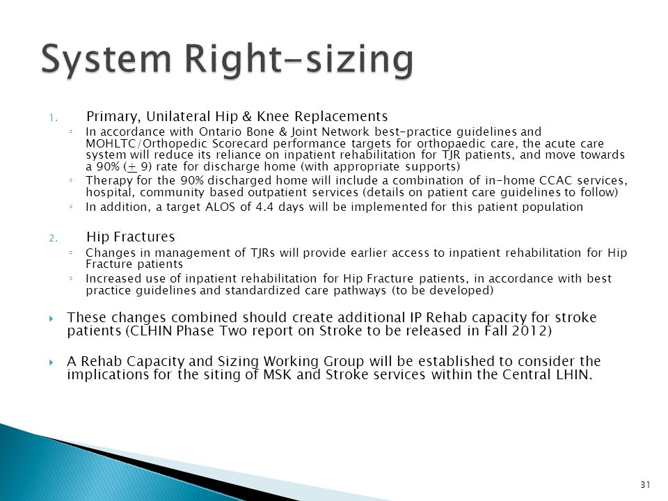 System Right-sizing Primary, Unilateral Hip & Knee Replacements