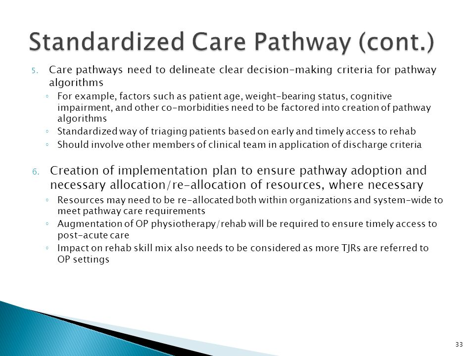 Standardized Care Pathway (cont.)