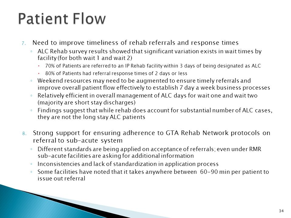 Patient Flow Need to improve timeliness of rehab referrals and response times.
