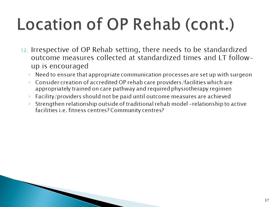 Location of OP Rehab (cont.)