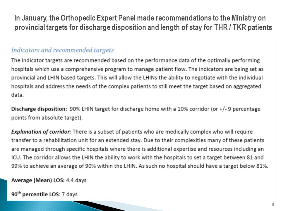 In January, the Orthopedic Expert Panel made recommendations to the Ministry on provincial targets for discharge disposition and length of stay for THR / TKR patients