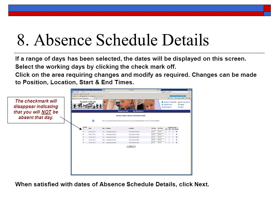 8. Absence Schedule Details
