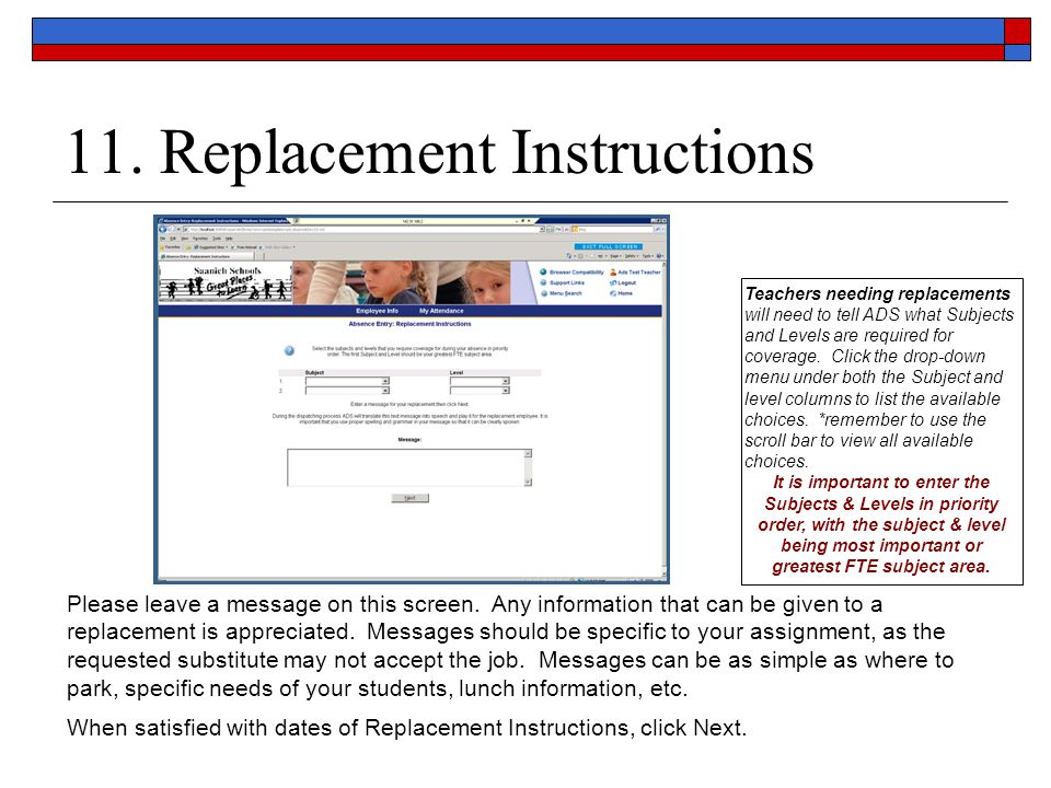 11. Replacement Instructions