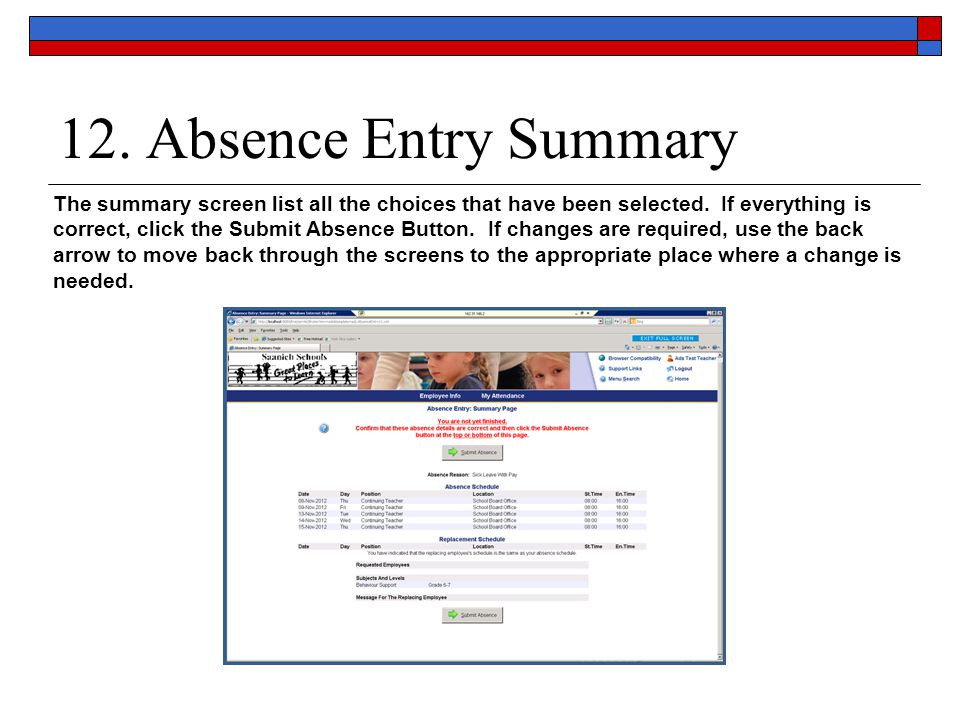 12. Absence Entry Summary