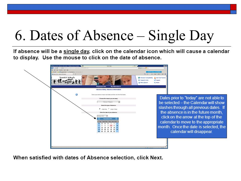 6. Dates of Absence – Single Day