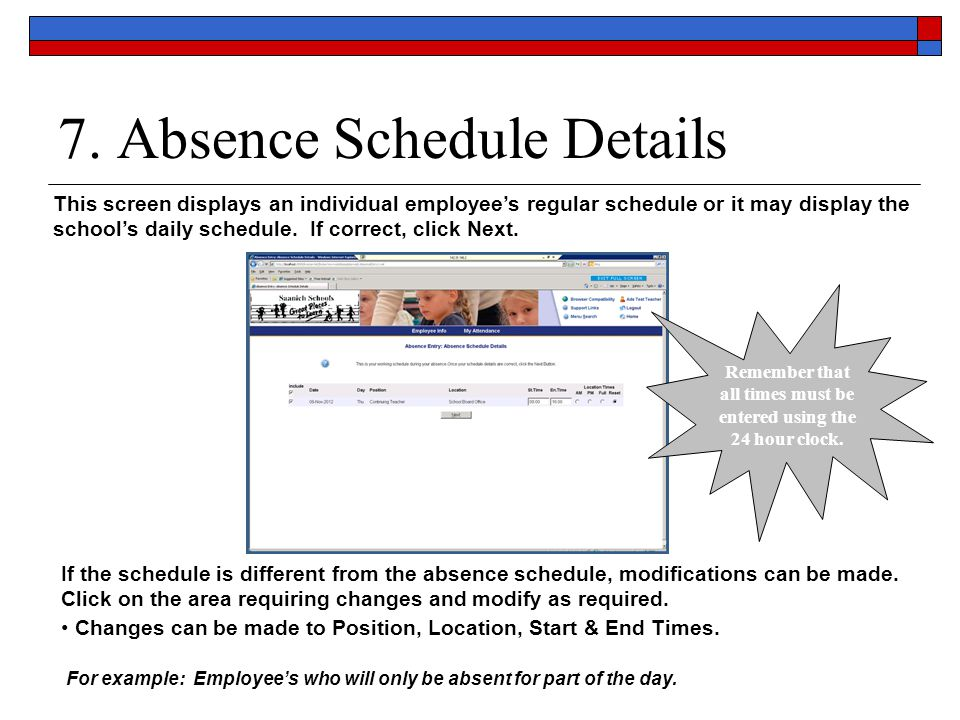 7. Absence Schedule Details