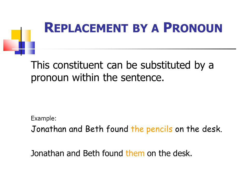 Replacement by a Pronoun