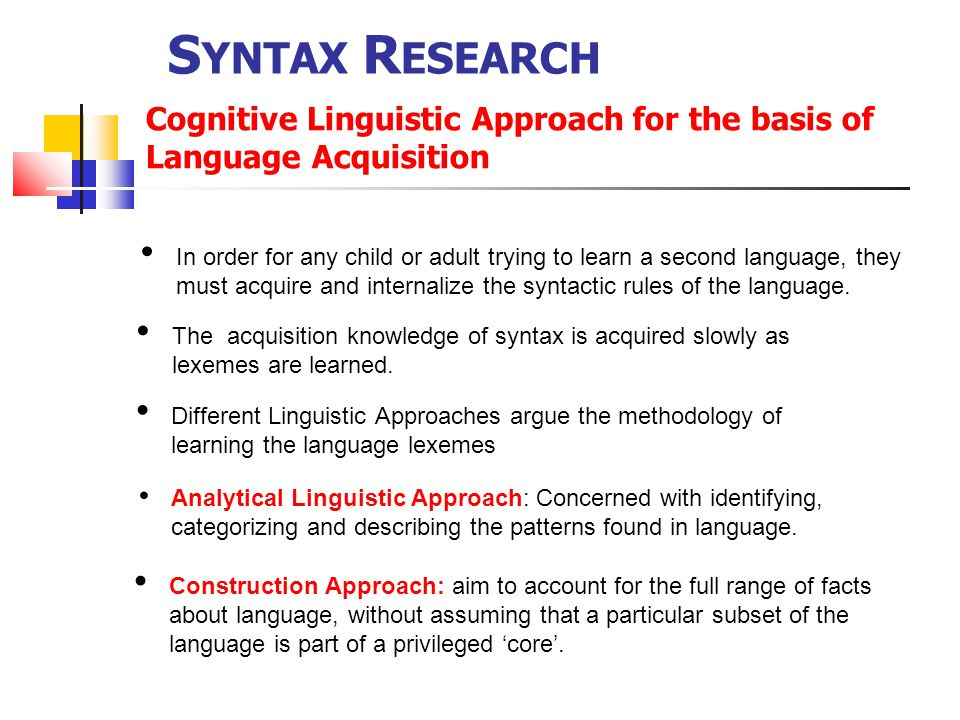 Syntax Research Cognitive Linguistic Approach for the basis of Language Acquisition.