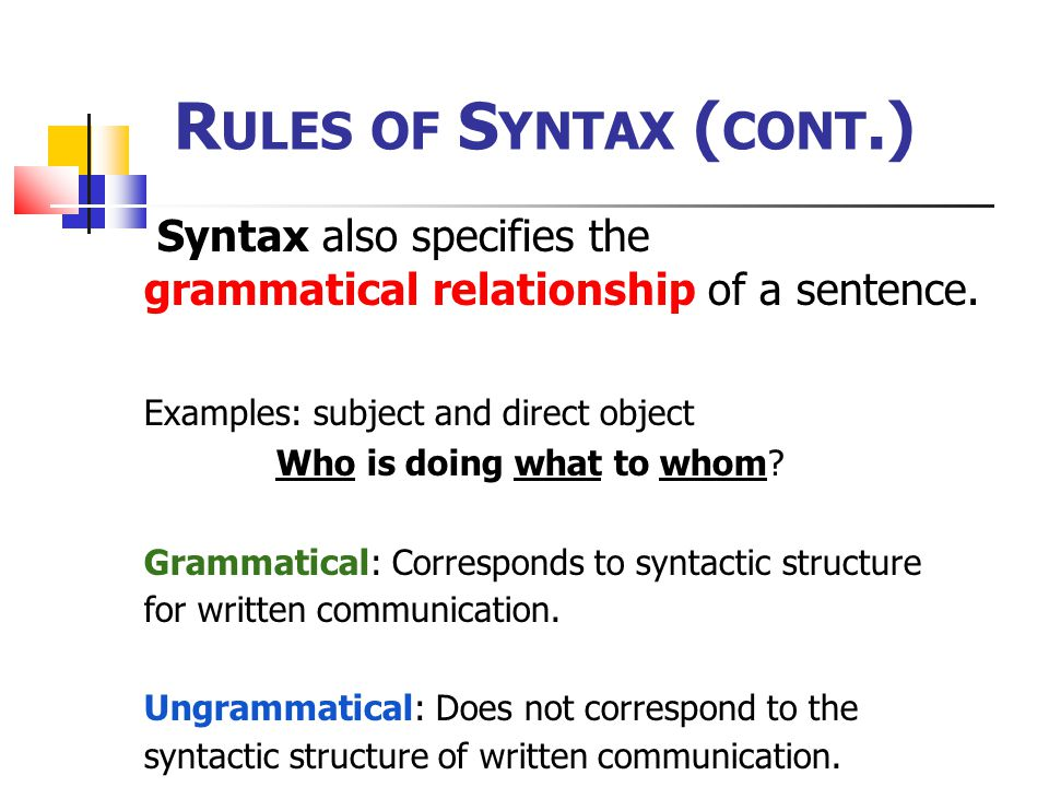 Rules of Syntax (cont.) Syntax also specifies the
