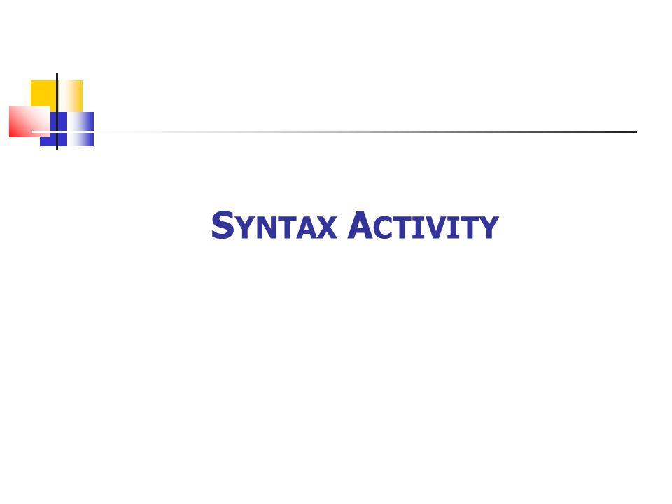 Syntax Activity
