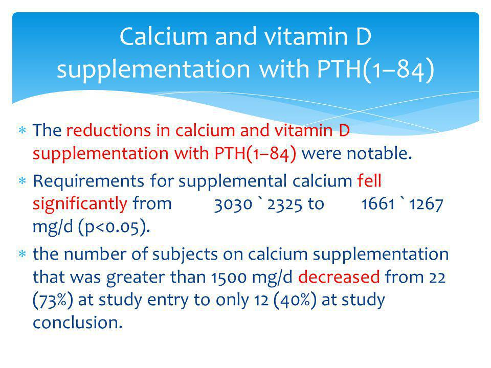 Calcium and vitamin D supplementation with PTH(1–84)