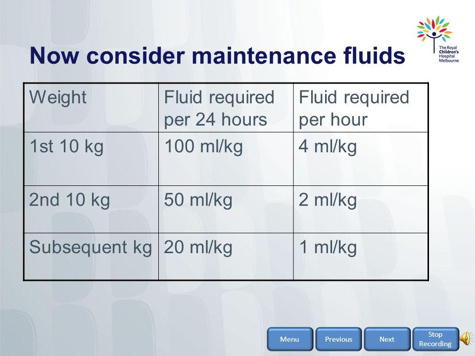 Now consider maintenance fluids