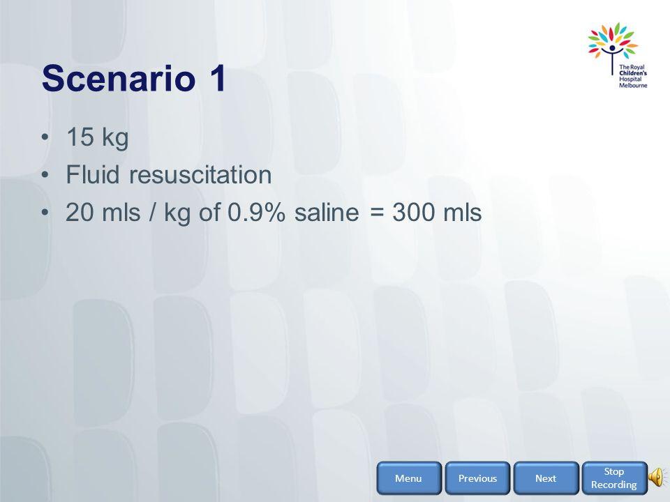 Scenario 1 15 kg Fluid resuscitation