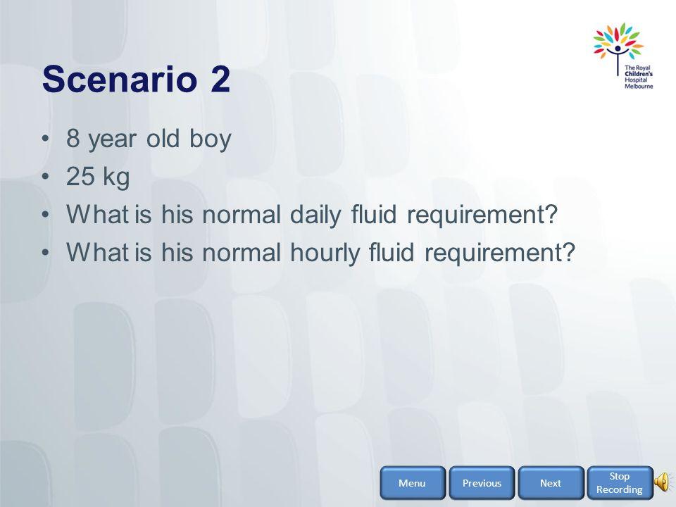 Scenario 2 8 year old boy 25 kg