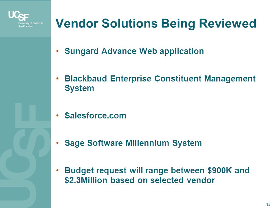 Vendor Solutions Being Reviewed