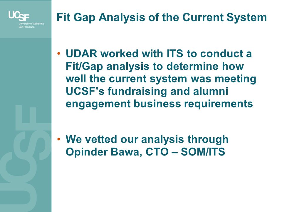 Fit Gap Analysis of the Current System