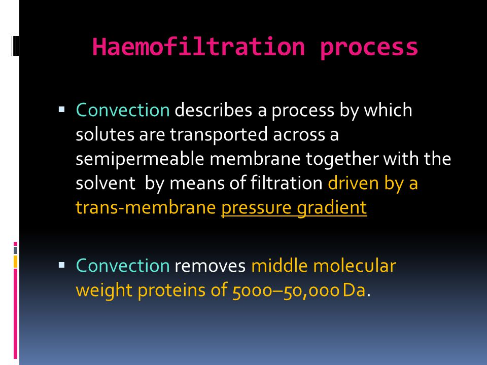 Haemofiltration process
