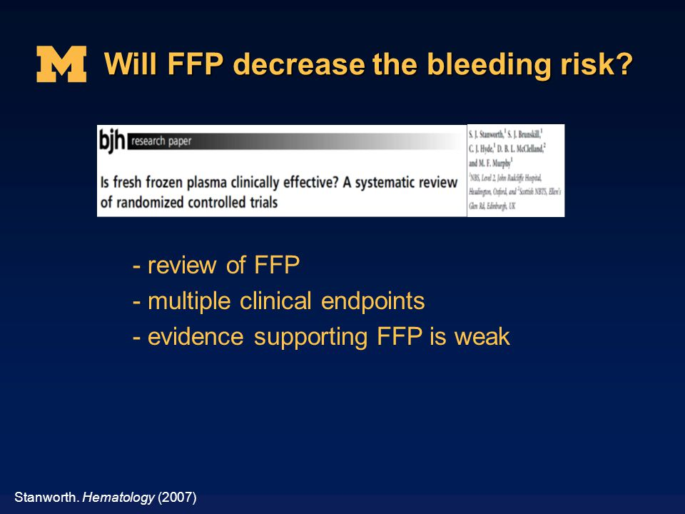 Will FFP decrease the bleeding risk