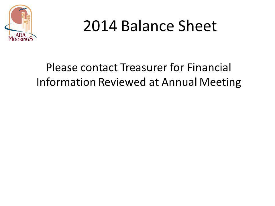 2014 Balance Sheet Please contact Treasurer for Financial Information Reviewed at Annual Meeting
