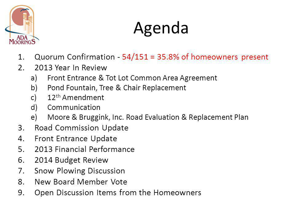 Agenda Quorum Confirmation - 54/151 = 35.8% of homeowners present