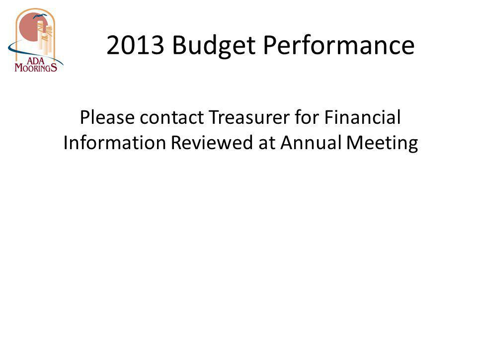 2013 Budget Performance Please contact Treasurer for Financial Information Reviewed at Annual Meeting.