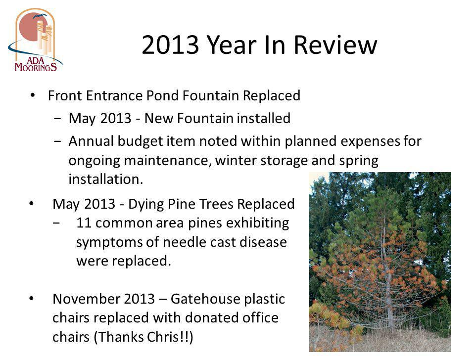 2013 Year In Review Front Entrance Pond Fountain Replaced