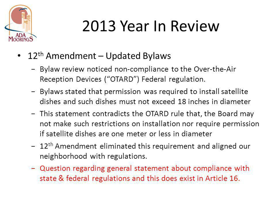 2013 Year In Review 12th Amendment – Updated Bylaws