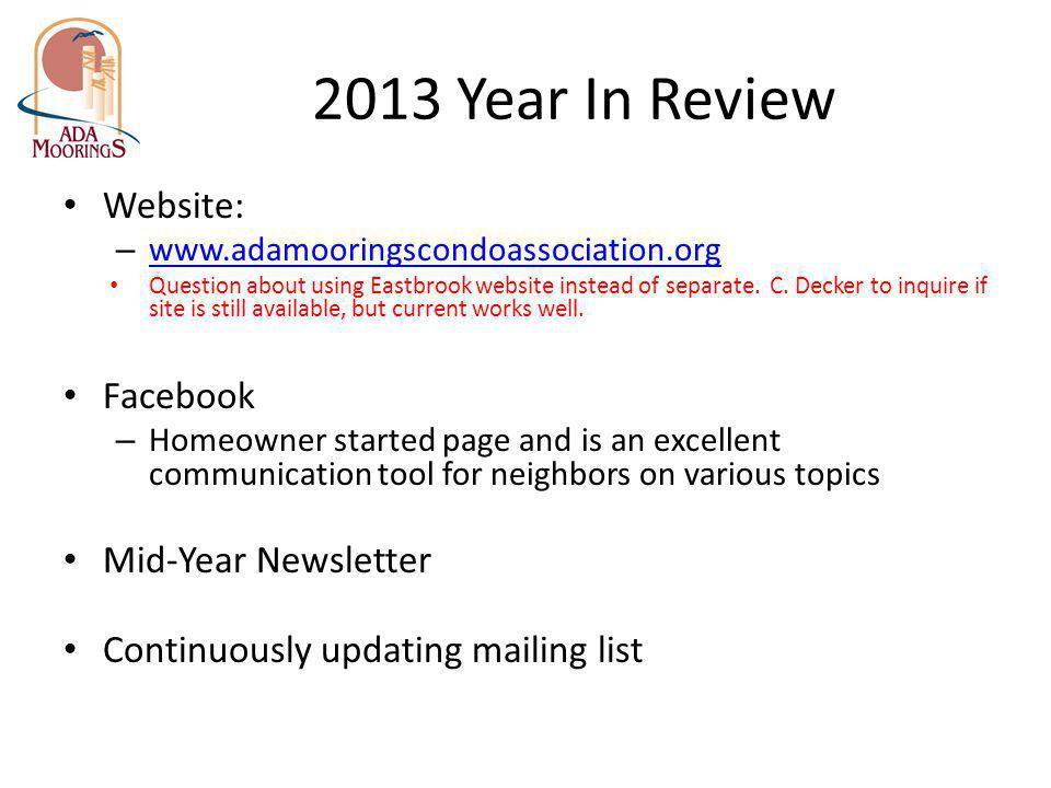 2013 Year In Review Website: Facebook Mid-Year Newsletter