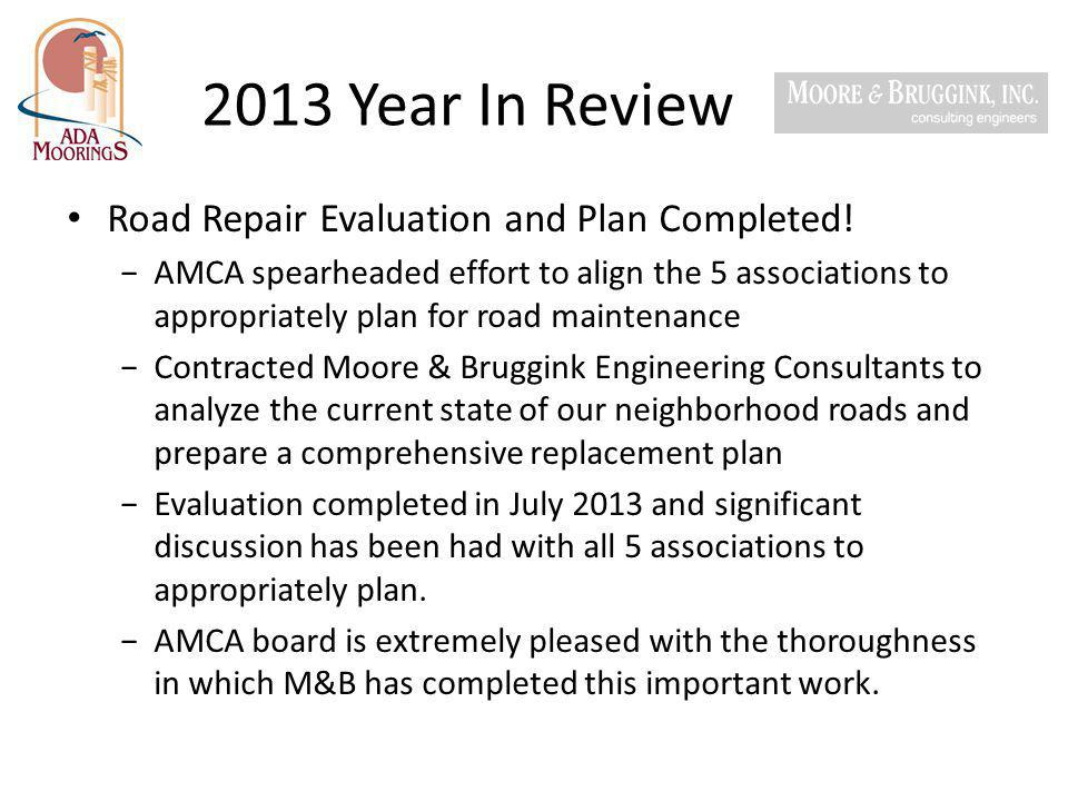 2013 Year In Review Road Repair Evaluation and Plan Completed!