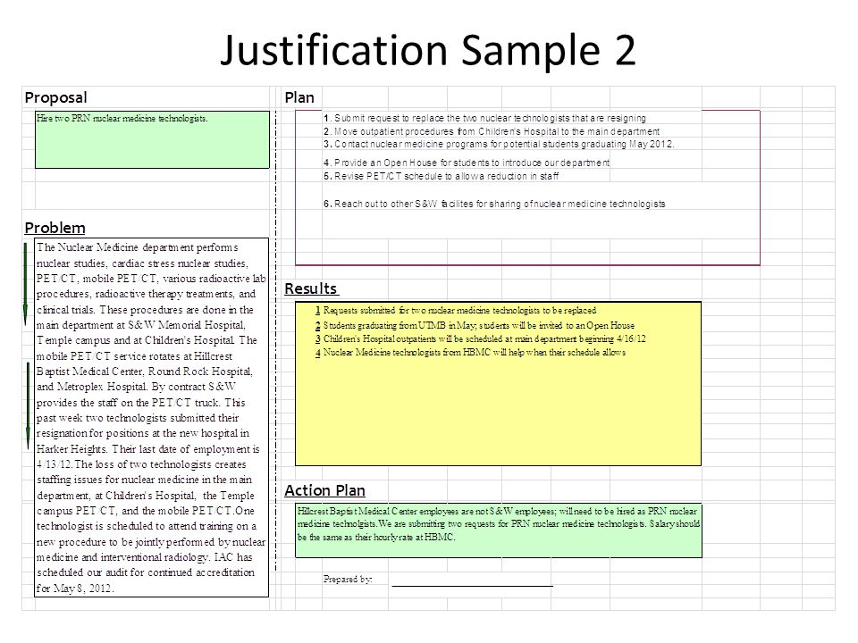 Justification Sample 2