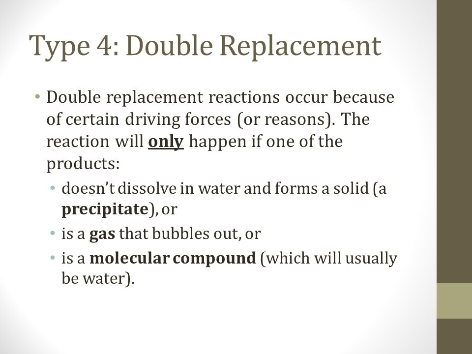 Type 4: Double Replacement