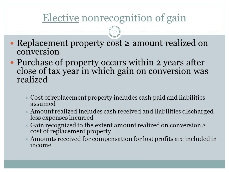 Elective nonrecognition of gain