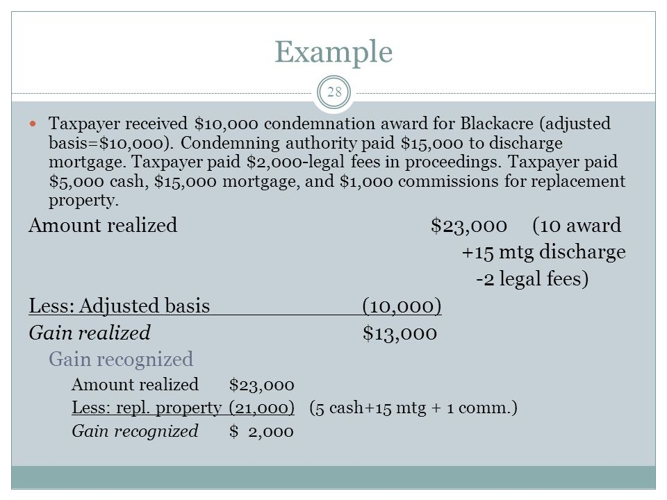 Example Amount realized $23,000 (10 award +15 mtg discharge